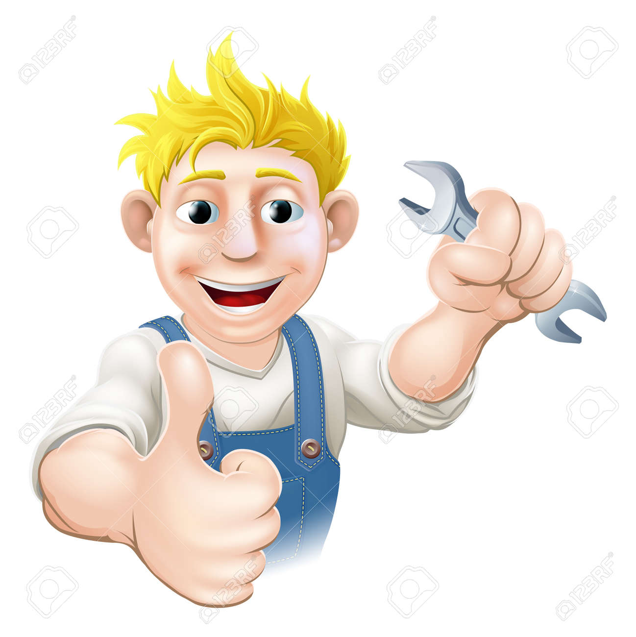 Cartoon mechanic or plumber holding a wrench or spanner and doing a thumbs up gesture Stock Vector - 19595215