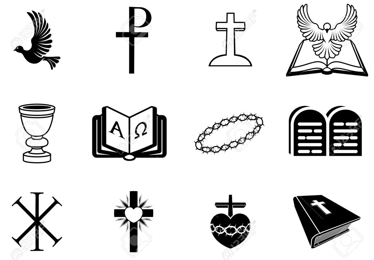 Illustration Of Religious Signs And Symbols From Christianity ...