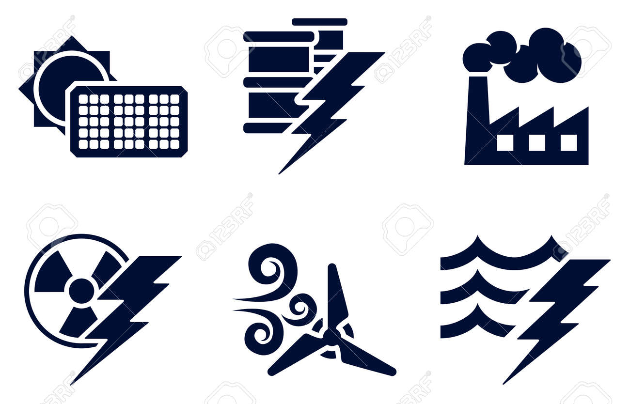 Power generator icon Power Supply Unit An Icon Set With Six Icons Representing Power And Energy Generation Types Solar Fossil Fuel 123rfcom An Icon Set With Six Icons Representing Power And Energy Generation