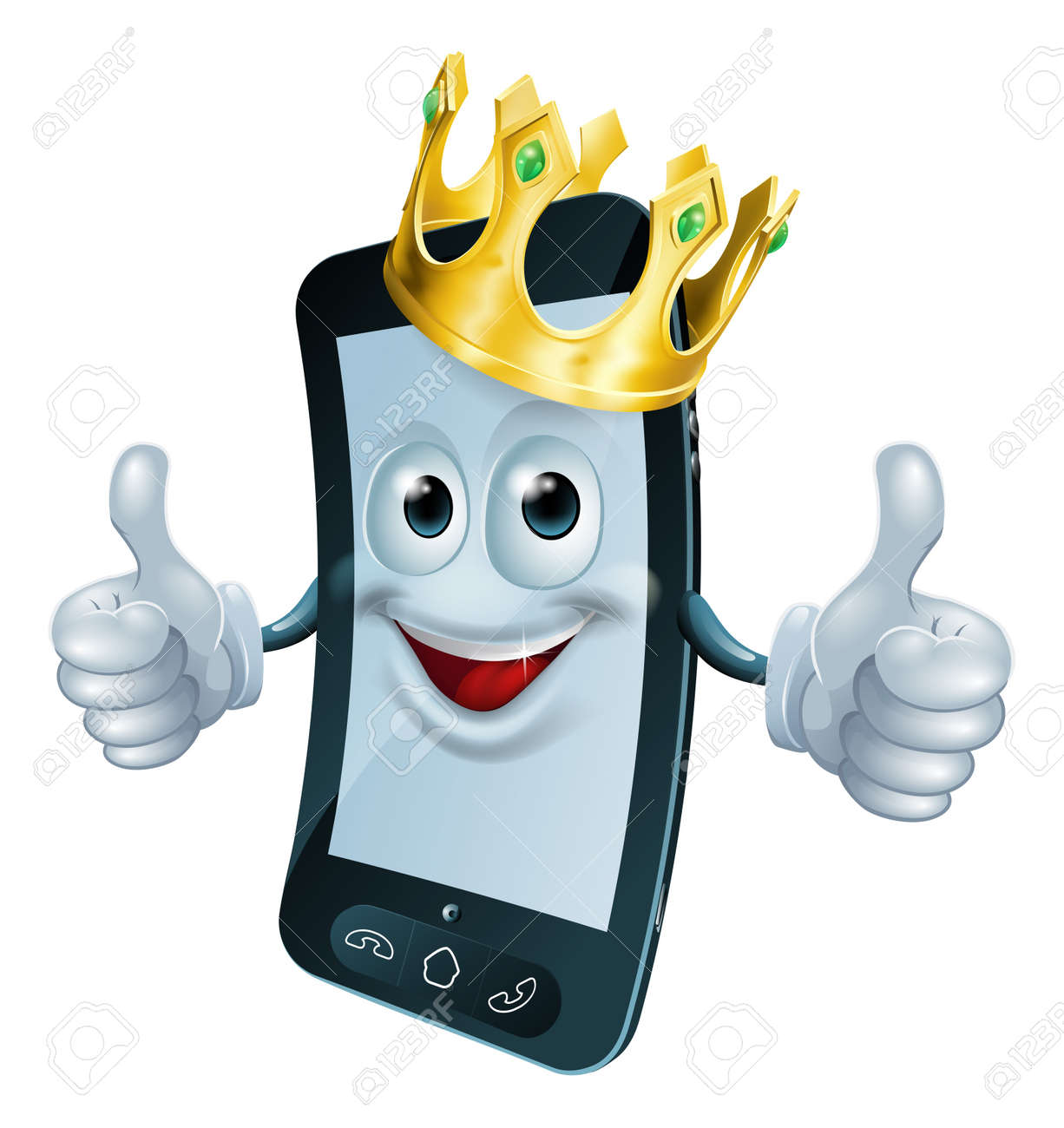 Illustration of a phone mascot man wearing a gold crown and giving a double thumbs up Stock Vector - 19595250