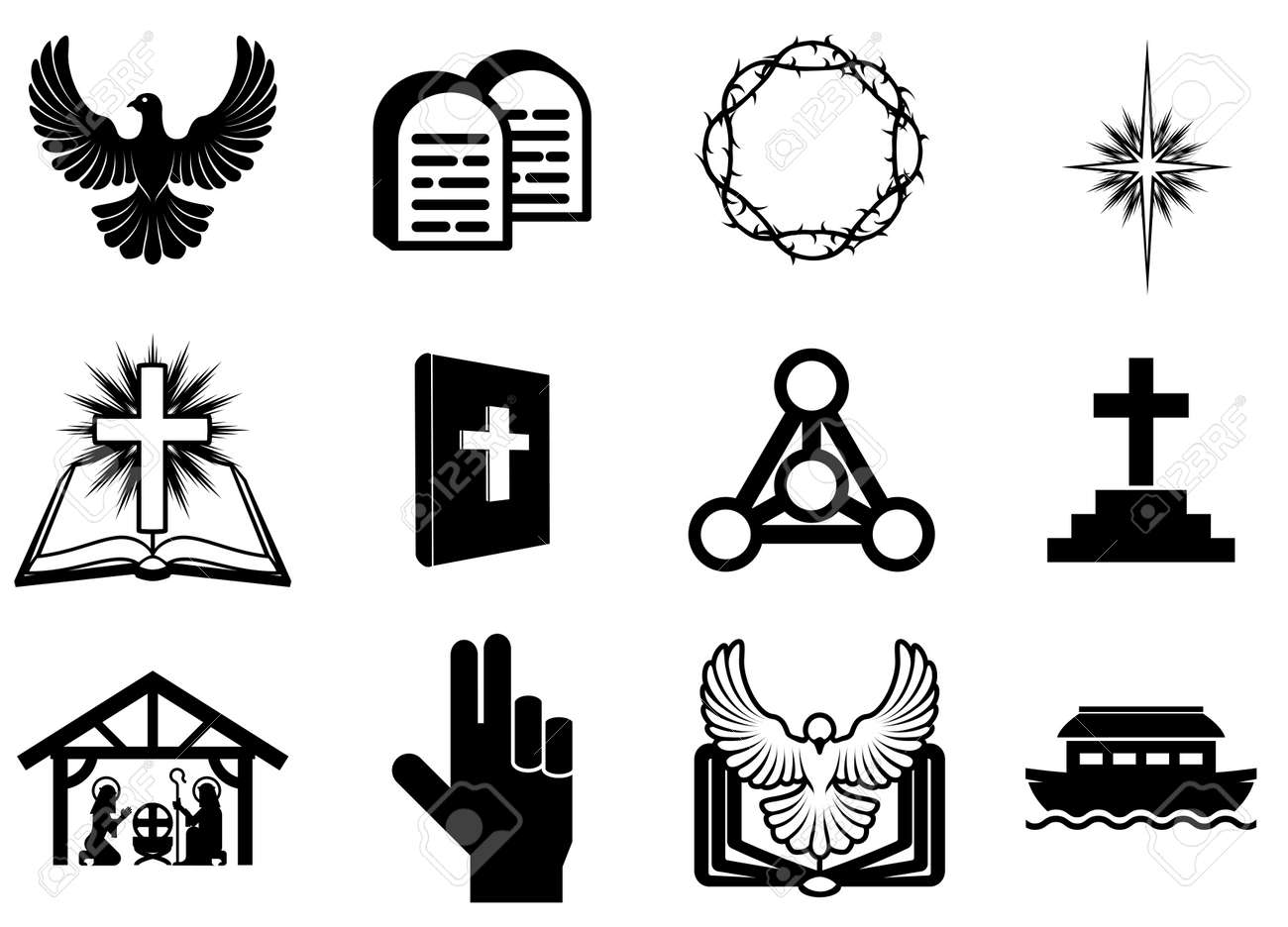 set of christian religious icons signs and symbols royalty free
