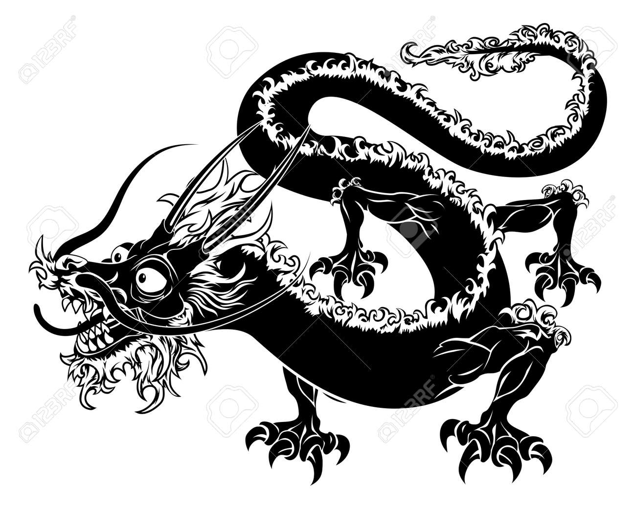 An illustration of a stylised chinese oriental dragon perhaps an illustration of a stylised chinese oriental dragon perhaps a dragon tattoo stock vector 19838332 buycottarizona