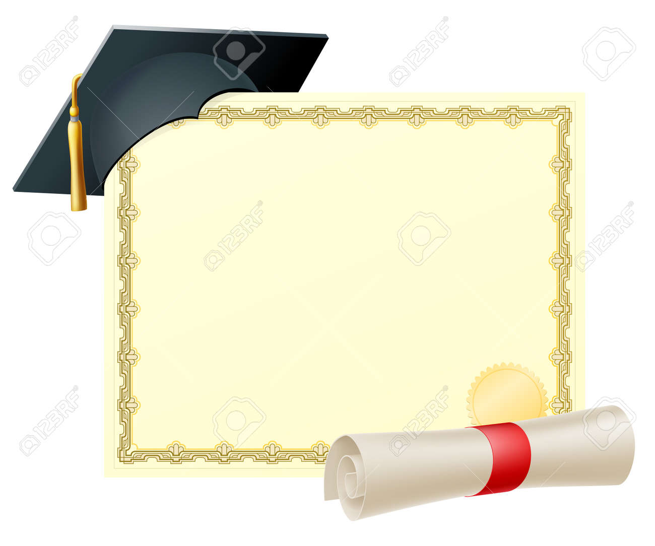 Certificate with copy space and scroll diploma and mortar board certificate with copy space and scroll diploma and mortar board graduation cap stock vector xflitez Images