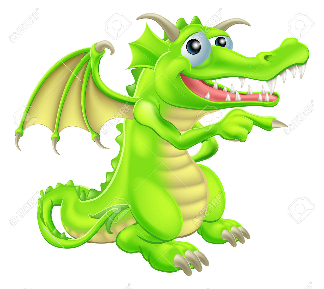 An illustration of a cute cartoon dragon mascot standing and pointing Stock Vector - 20018599