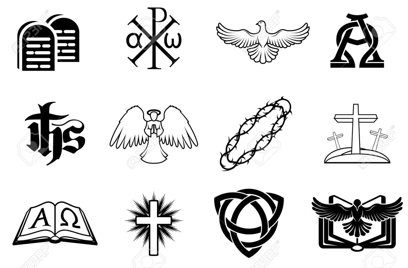 A set of Christian icons including angel, dove, alpha omega, Chi Ro and many more Stock Vector - 20018605