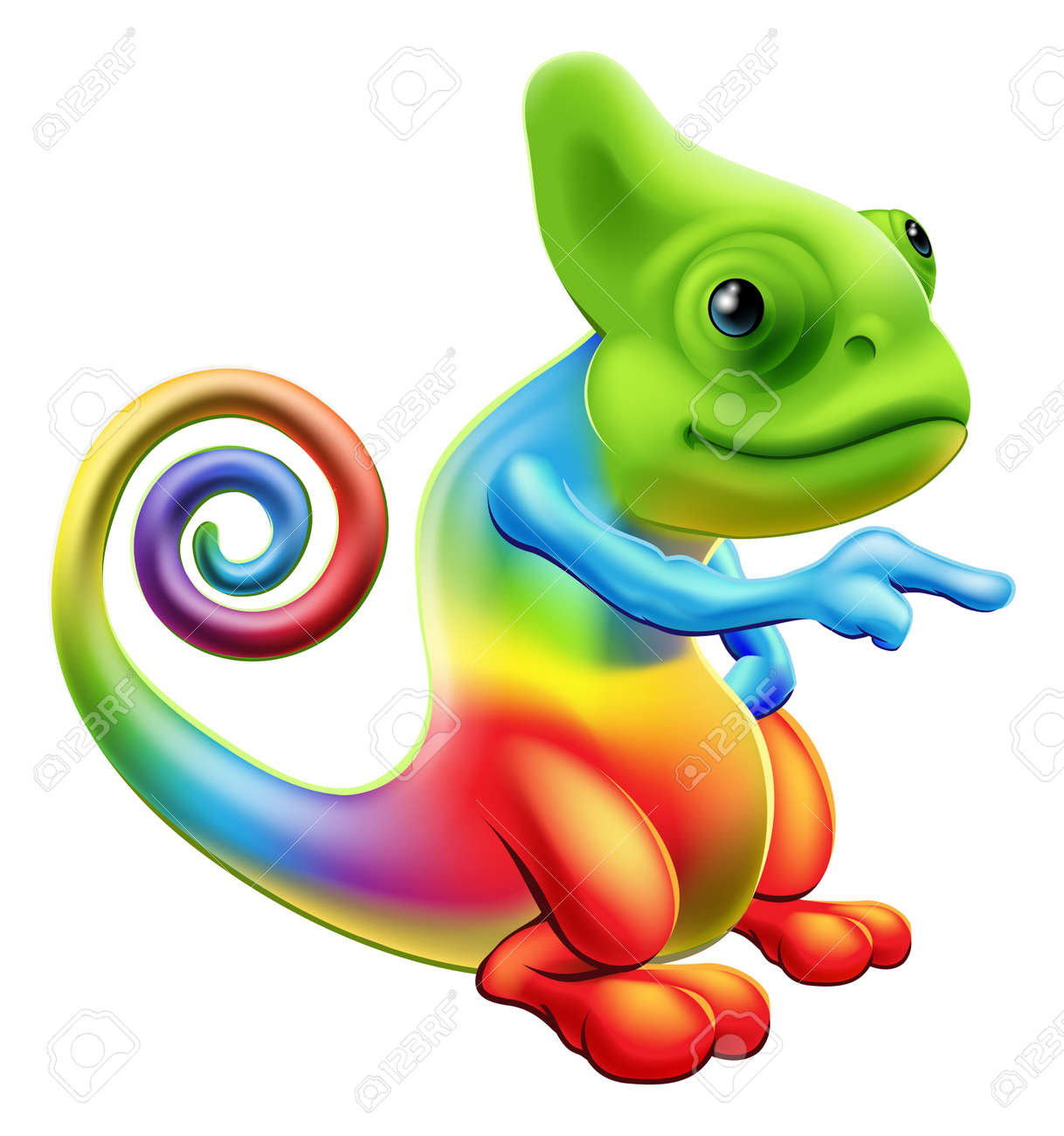 illustration of a cartoon rainbow chameleon mascot standing and rh 123rf com chameleon clipart png cute chameleon clipart