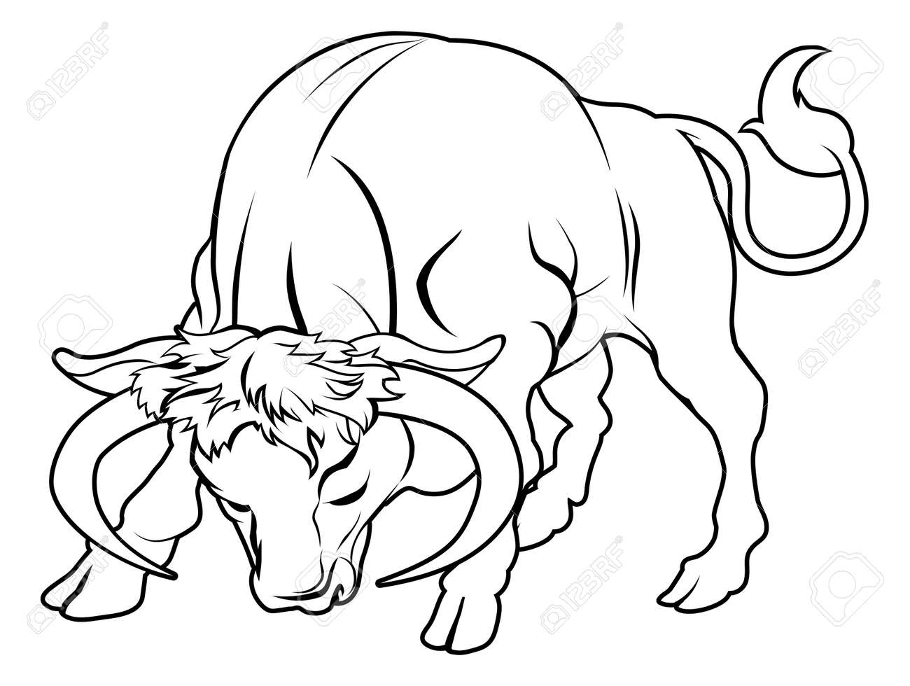 An illustration of a stylised black bull perhaps a bull tattoo Stock Vector - 20220353