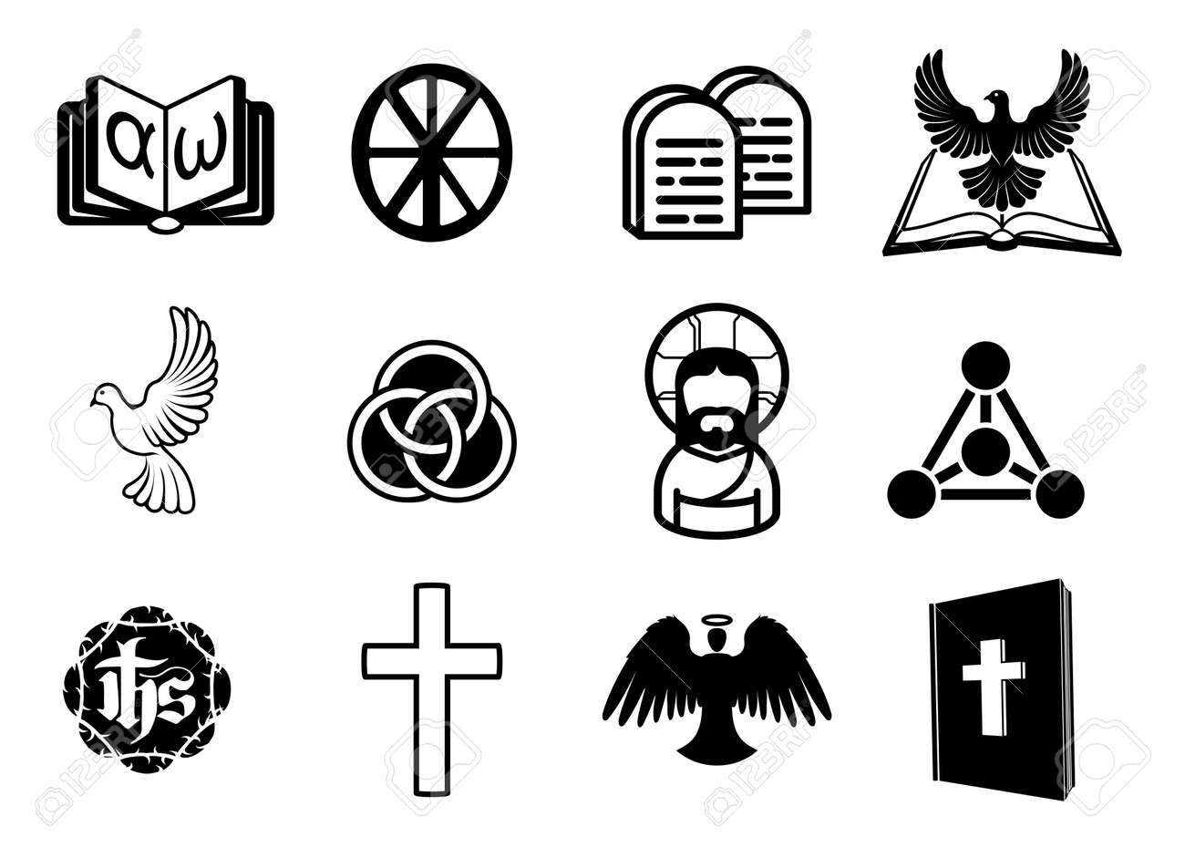 A christian religious icon set with signs and symbols related a christian religious icon set with signs and symbols related to christian themes stock vector biocorpaavc