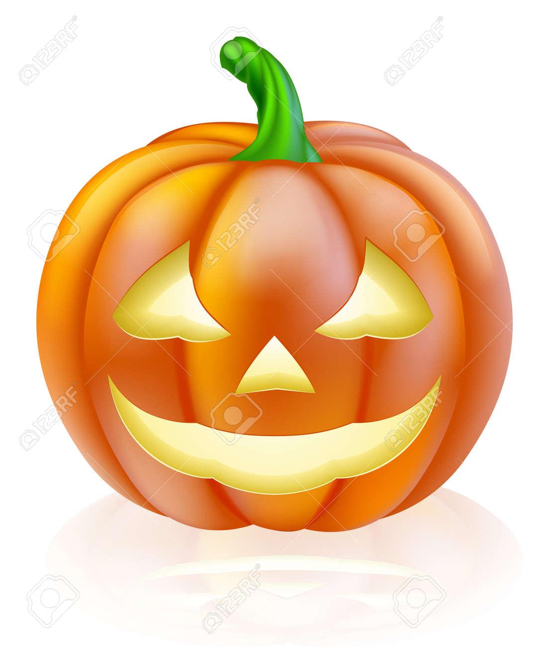 Une Illustration D Un Dessin Animé Mignon Sculpté Citrouille D Halloween Lanterne Avec Le Sourire Heureux