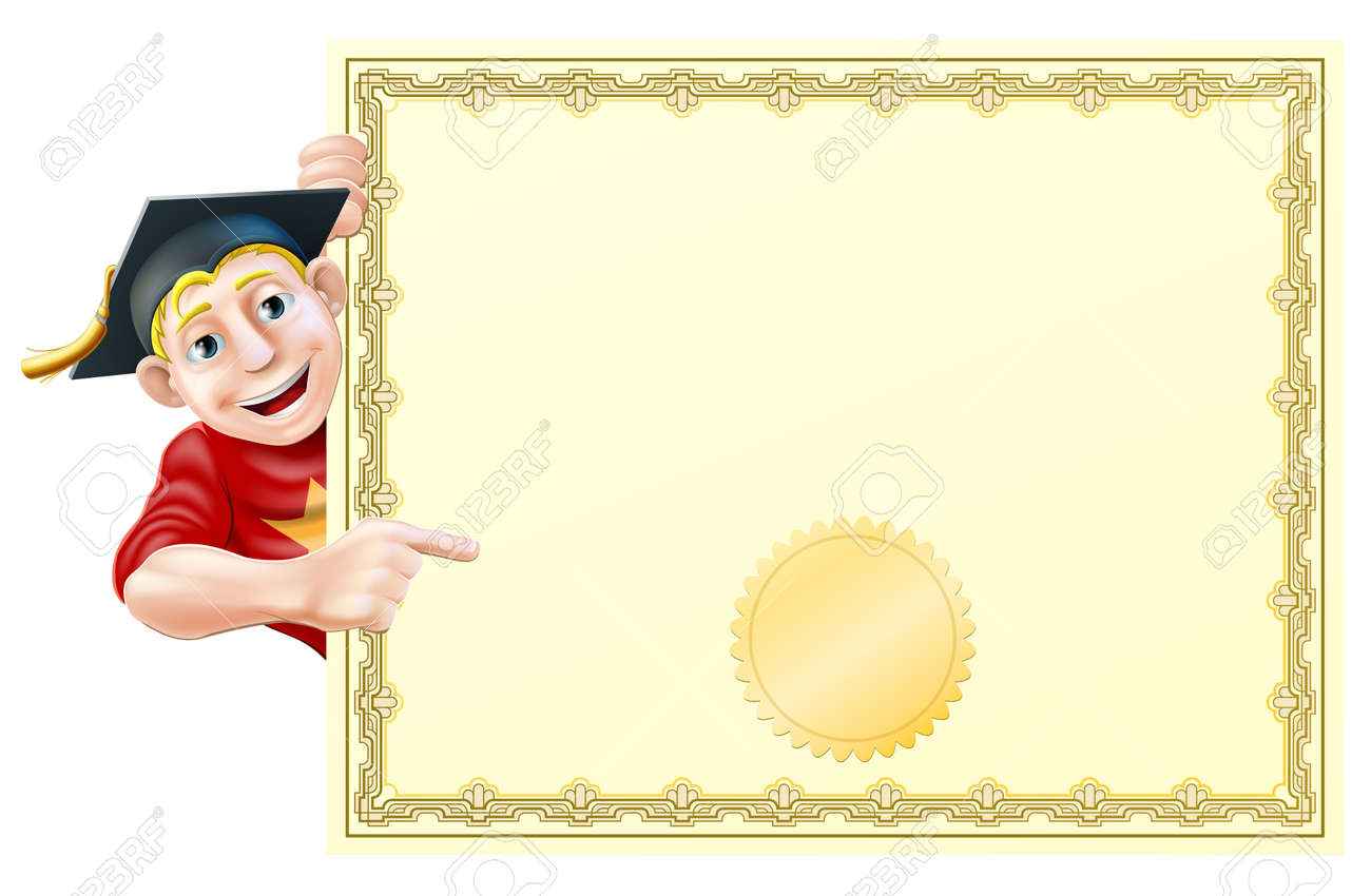 Cartoon man in graduate cap peeking round a certificate and pointing at it Stock Vector - 20921291