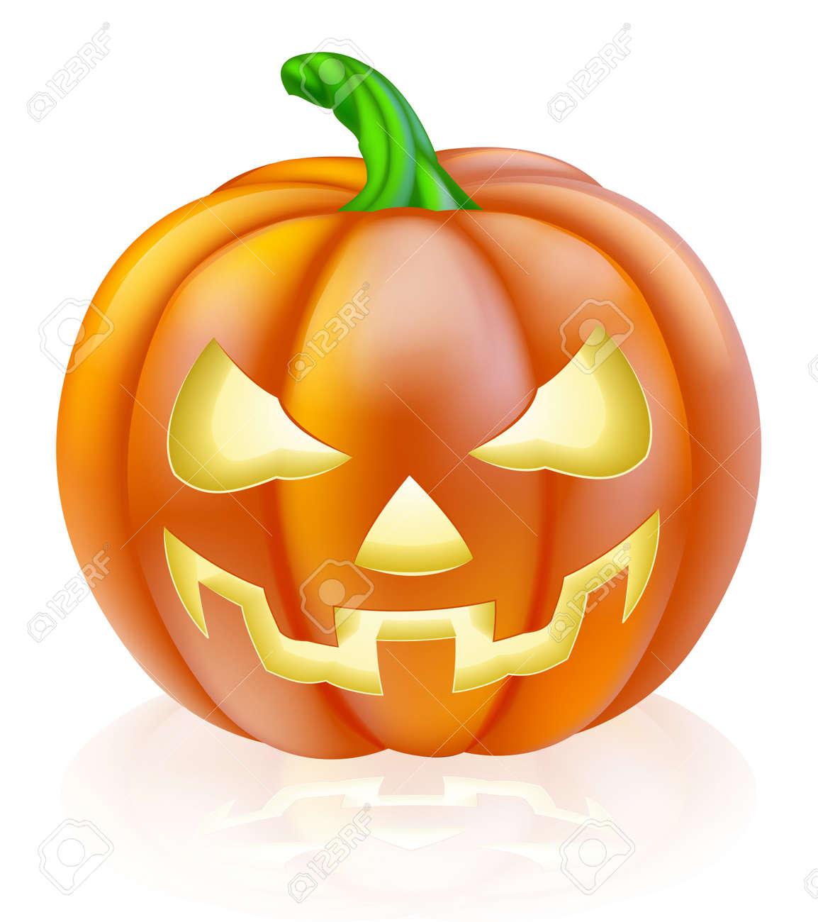 banque dimages un dessin dune citrouille dhalloween de bande dessine avec le visage effrayant classique taille dans le