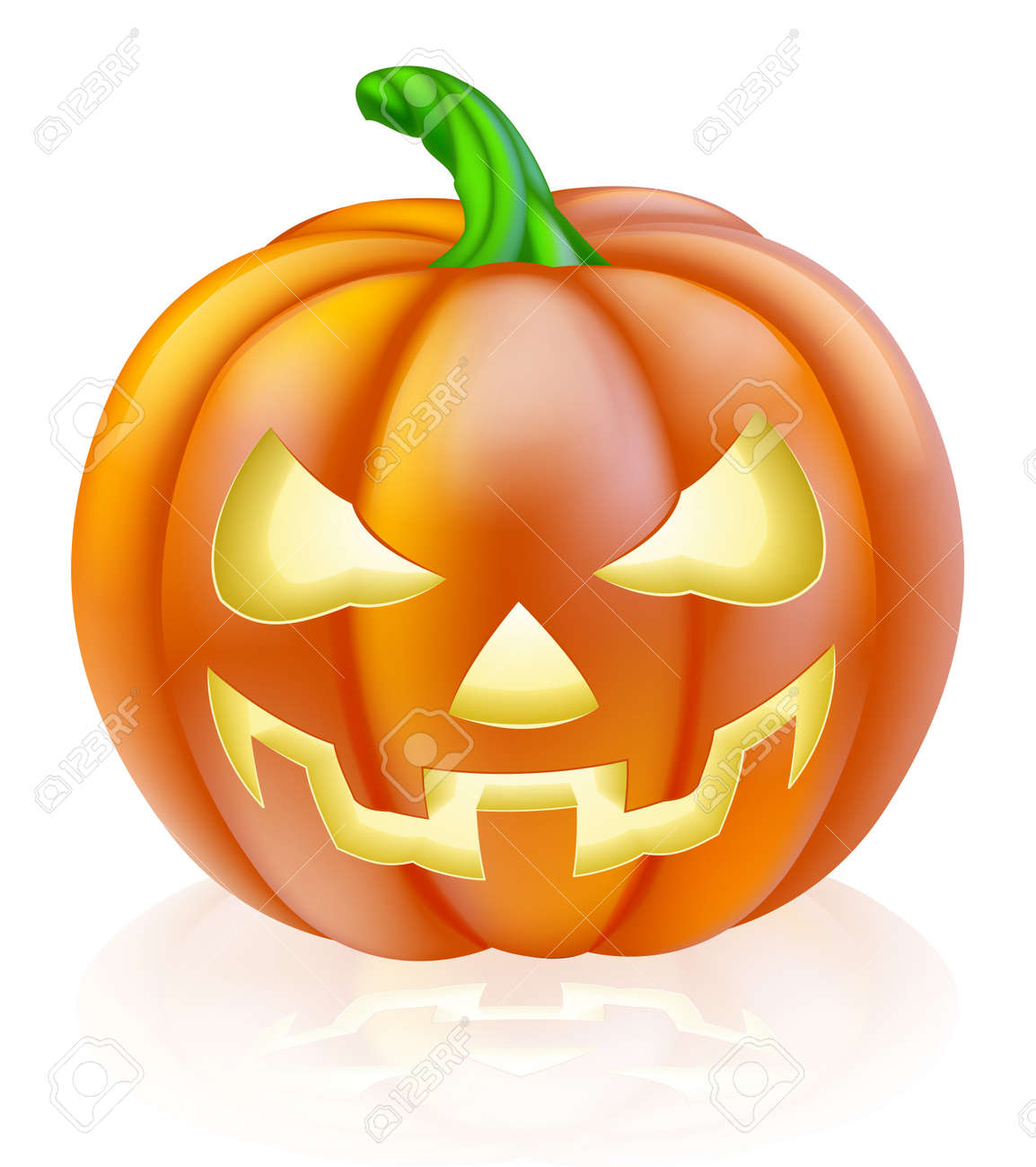 a drawing of a cartoon halloween pumpkin with classic scary face carved into it stock vector - Cartoon Halloween Drawings