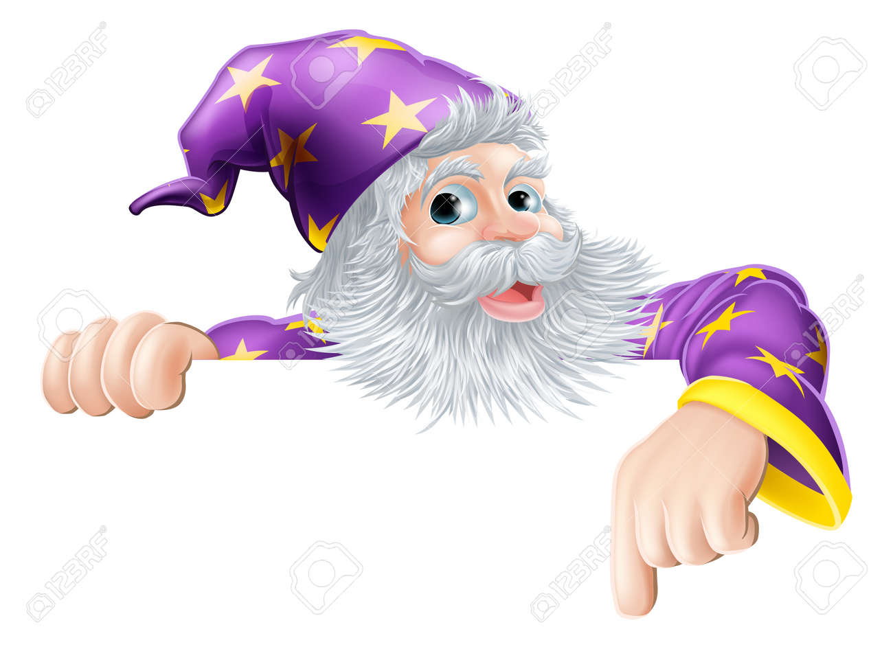 An Illustration Of A Wizard Cartoon Character Peeping Over Sign And Pointing Stock Vector