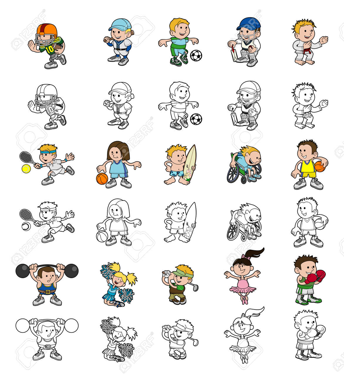 A set of cartoon people or children playing sports  Color and black and white outline versions Stock Vector - 21358050