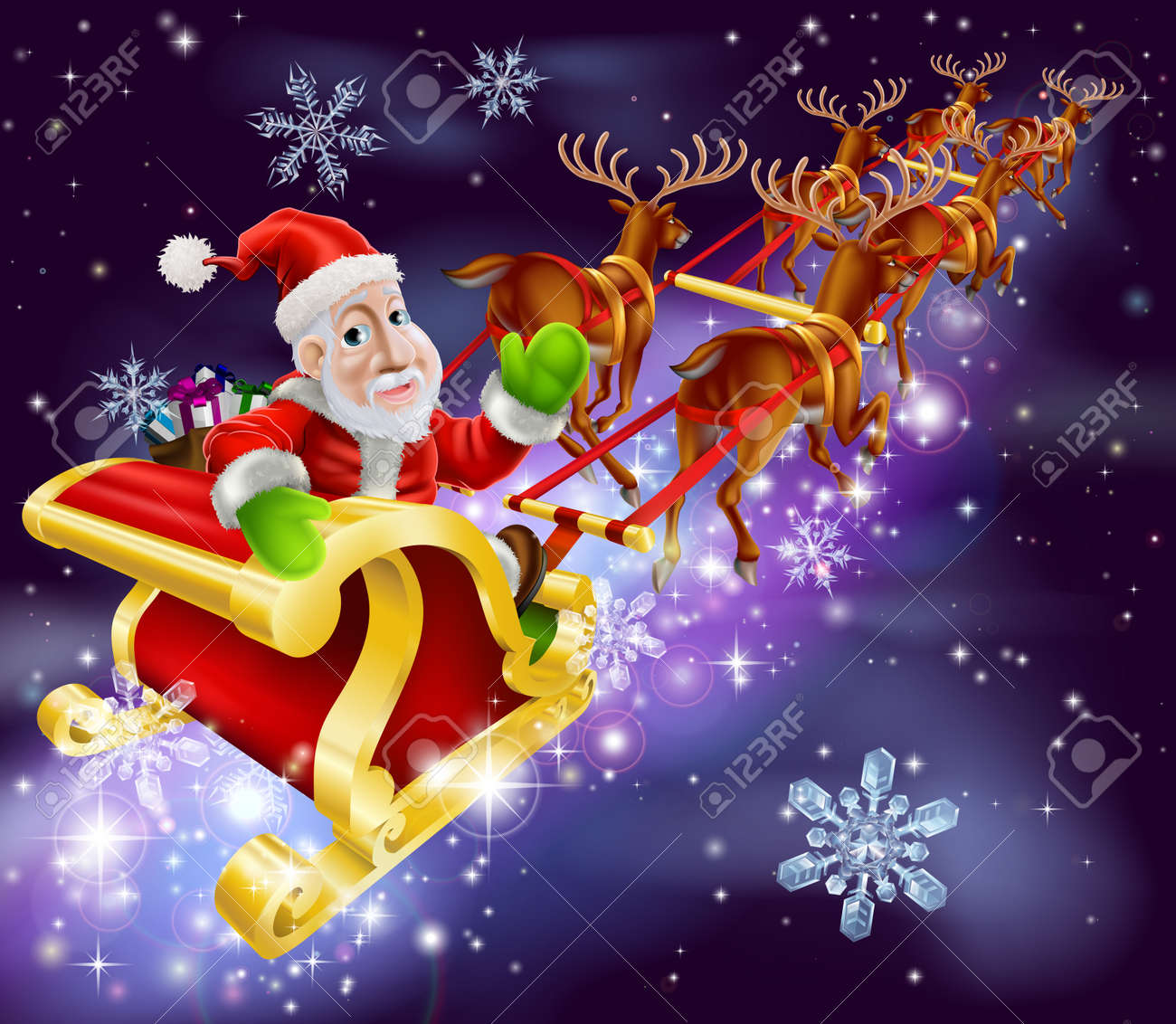 Christmas illustration of Santa Claus flying in his sled or sleigh with night background Stock Vector - 21358055