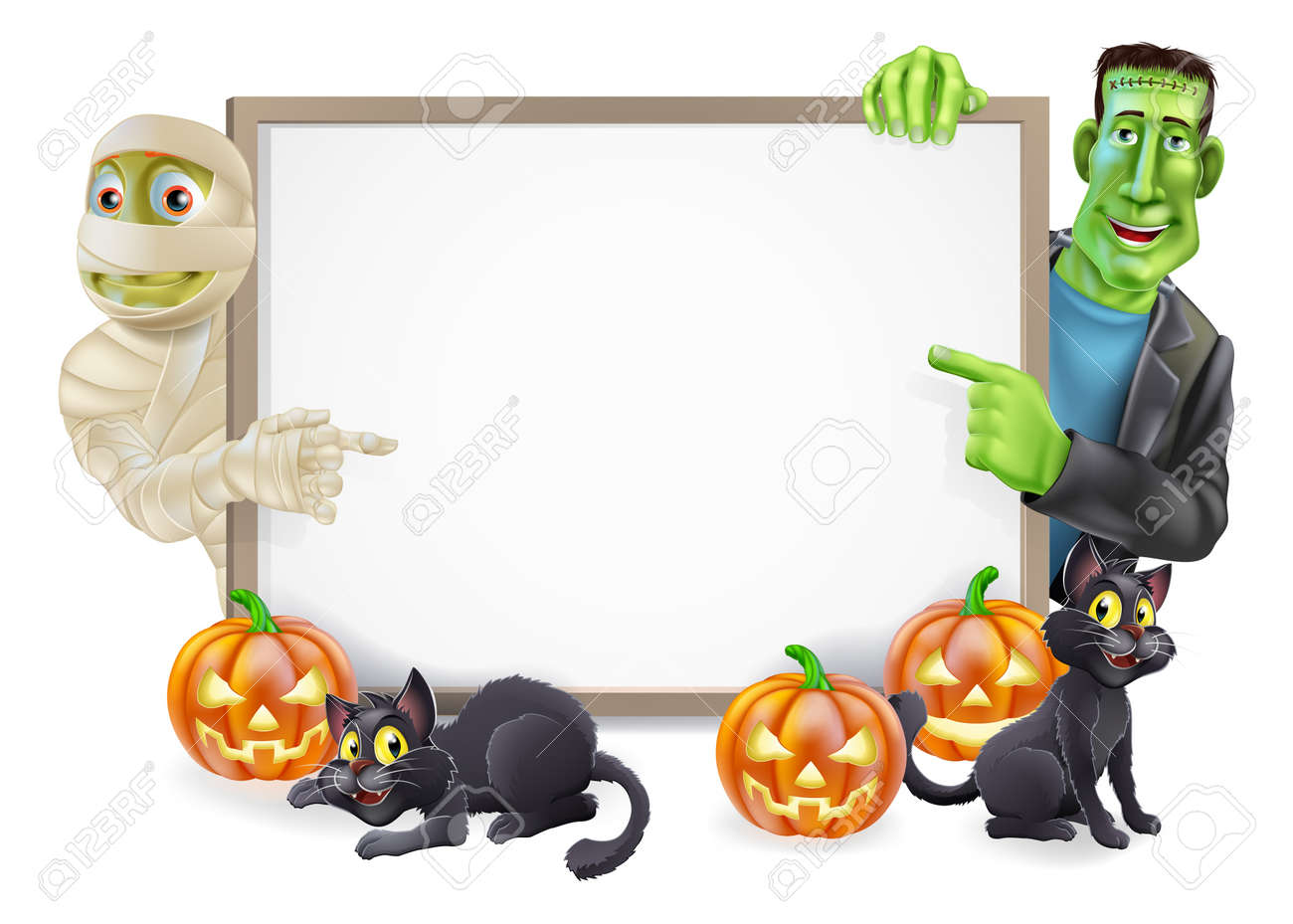 Halloween sign or banner with orange Halloween pumpkins and black witch Stock Vector - 21636536