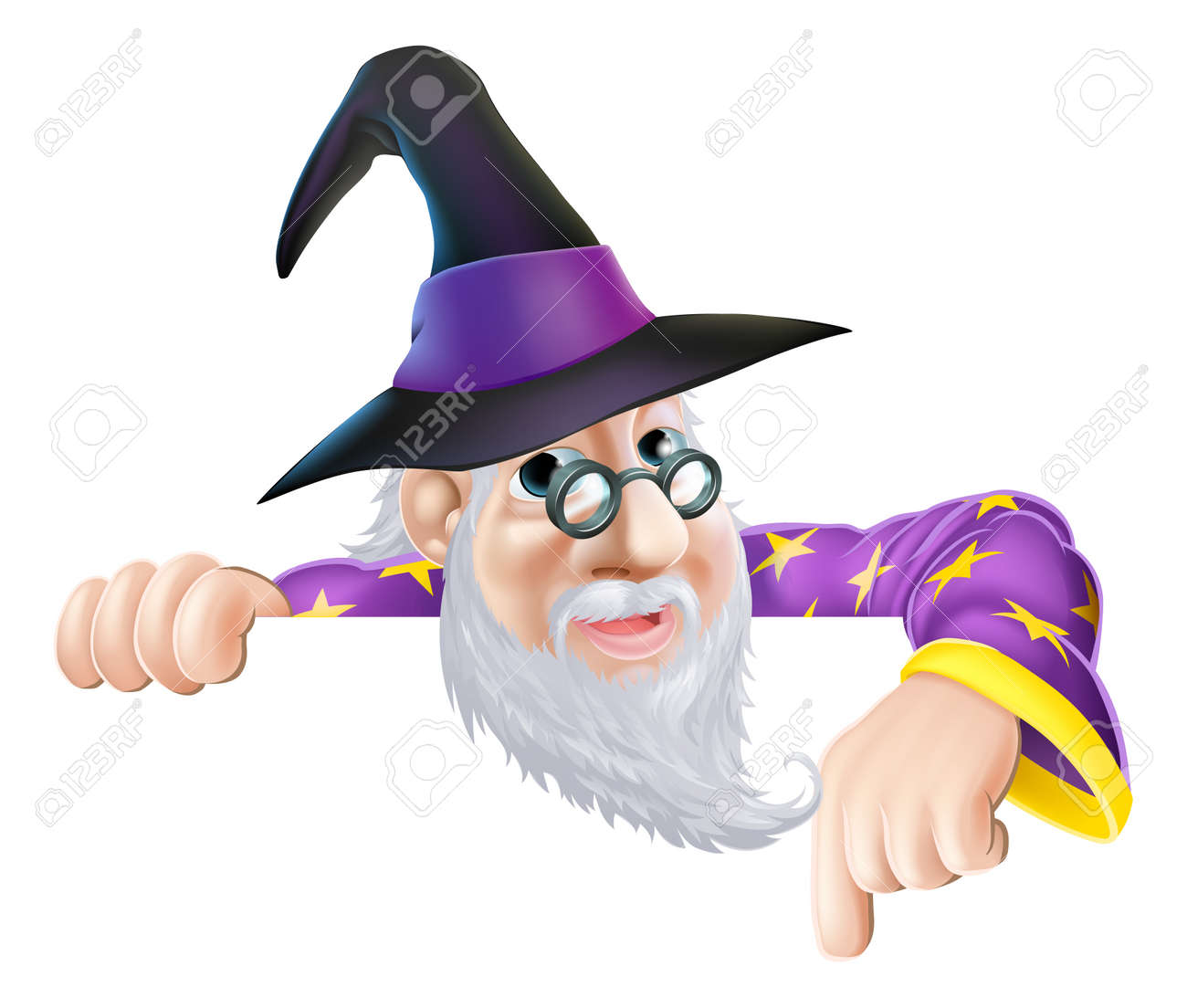 An illustration of a wizard cartoon character peeking over a sign or banner and pointing down Stock Vector - 21822850