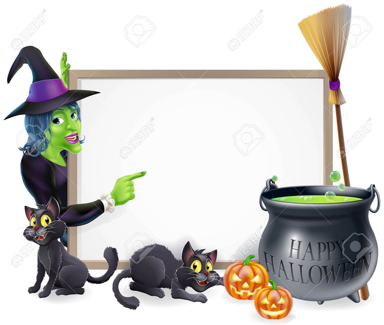 halloween sign background with cartoon witch and happy halloween