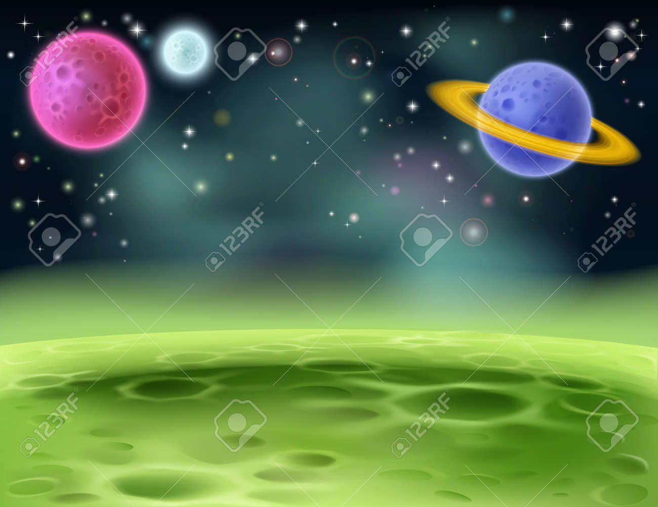 An illustration of an outer space cartoon background with colorful planets - 21887221