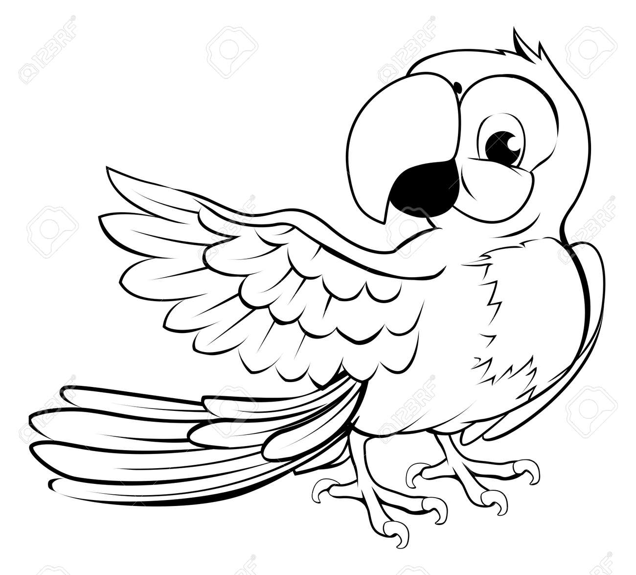 cartoon parrot character in black outline pointing with its wing stock vector 21887230