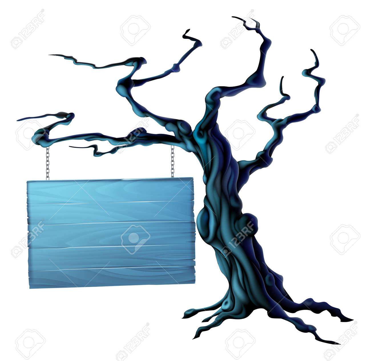 an illustration of a bare spooky scary halloween tree with a