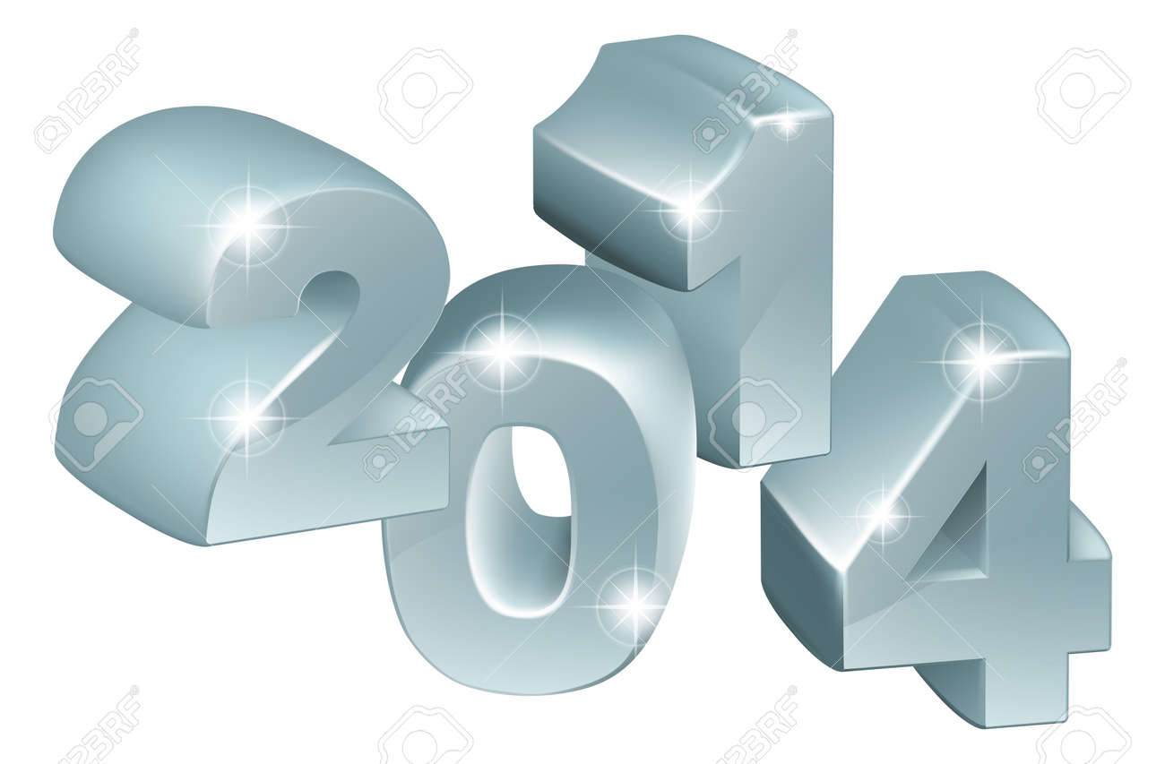 Illustration of 3D Silver 2014 number ornaments, could be used for new year designs or anything relating to the year 2014 Stock Vector - 22019738