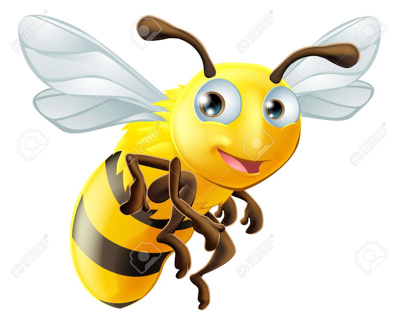 An illustration of a cute cartoon bee - 22096322