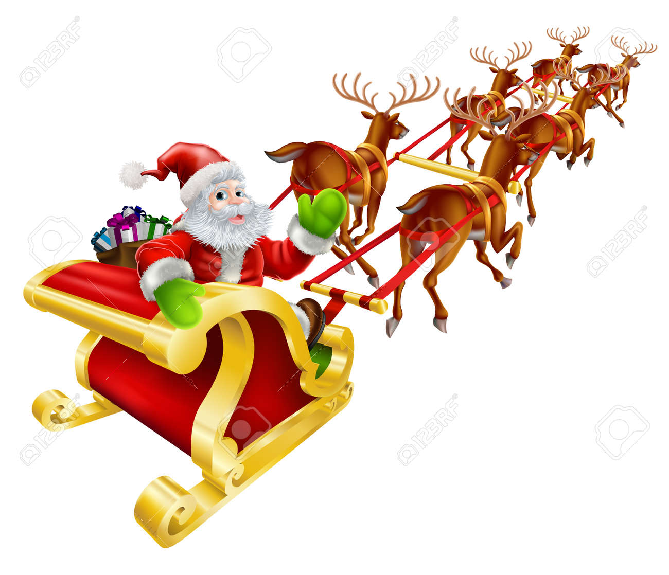 christmas illustration of cartoon santa claus flying in his sled