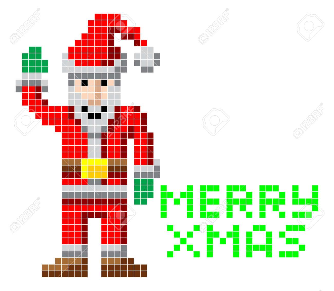 Retro Arcade Video Game Style Pixel Art Christmas Santa With ...