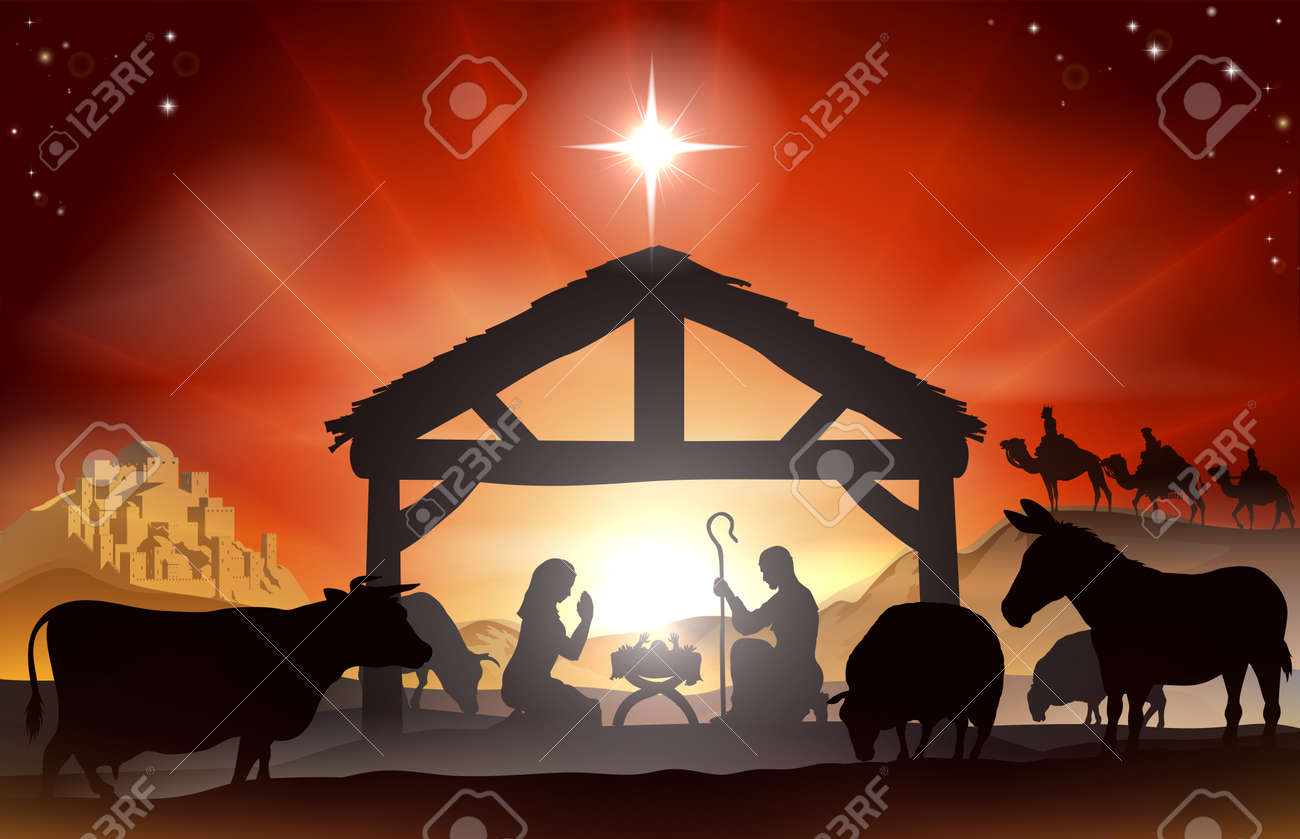 Bilder Krippe Weihnachten.Stock Photo
