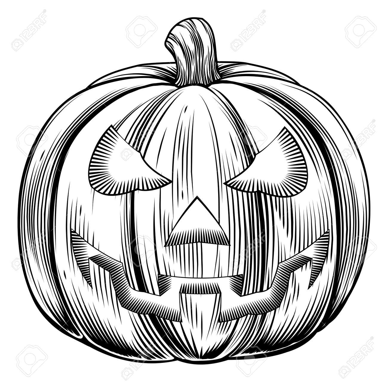 An illustration of a Halloween pumpkin in a retro vintage woodblock or woodcut etching style Stock Vector - 22497557