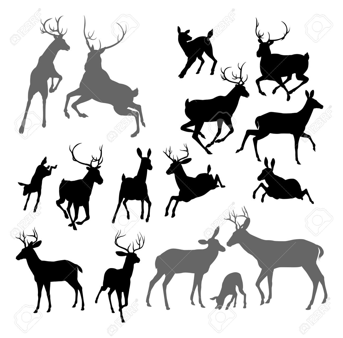 15,402 Deer Silhouette Cliparts, Stock Vector And Royalty Free ...
