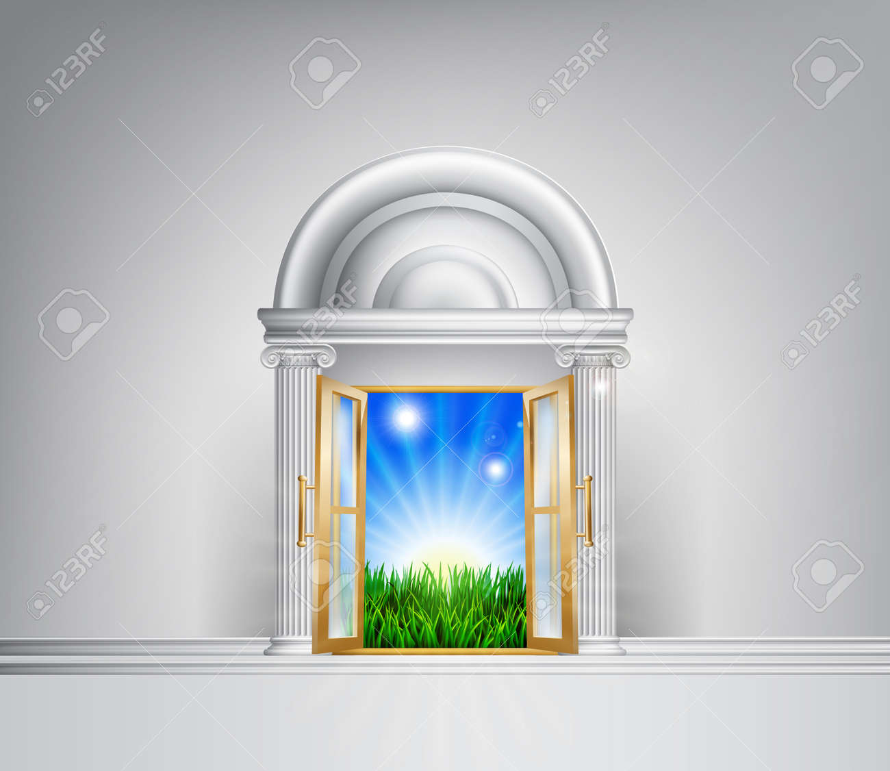 Conceptual illustration of a sunrise over fields through a grand entrance. Could be used in a self help or motivational concept or to represent hope for the future and lifestyle changes. Stock Vector - 22951253