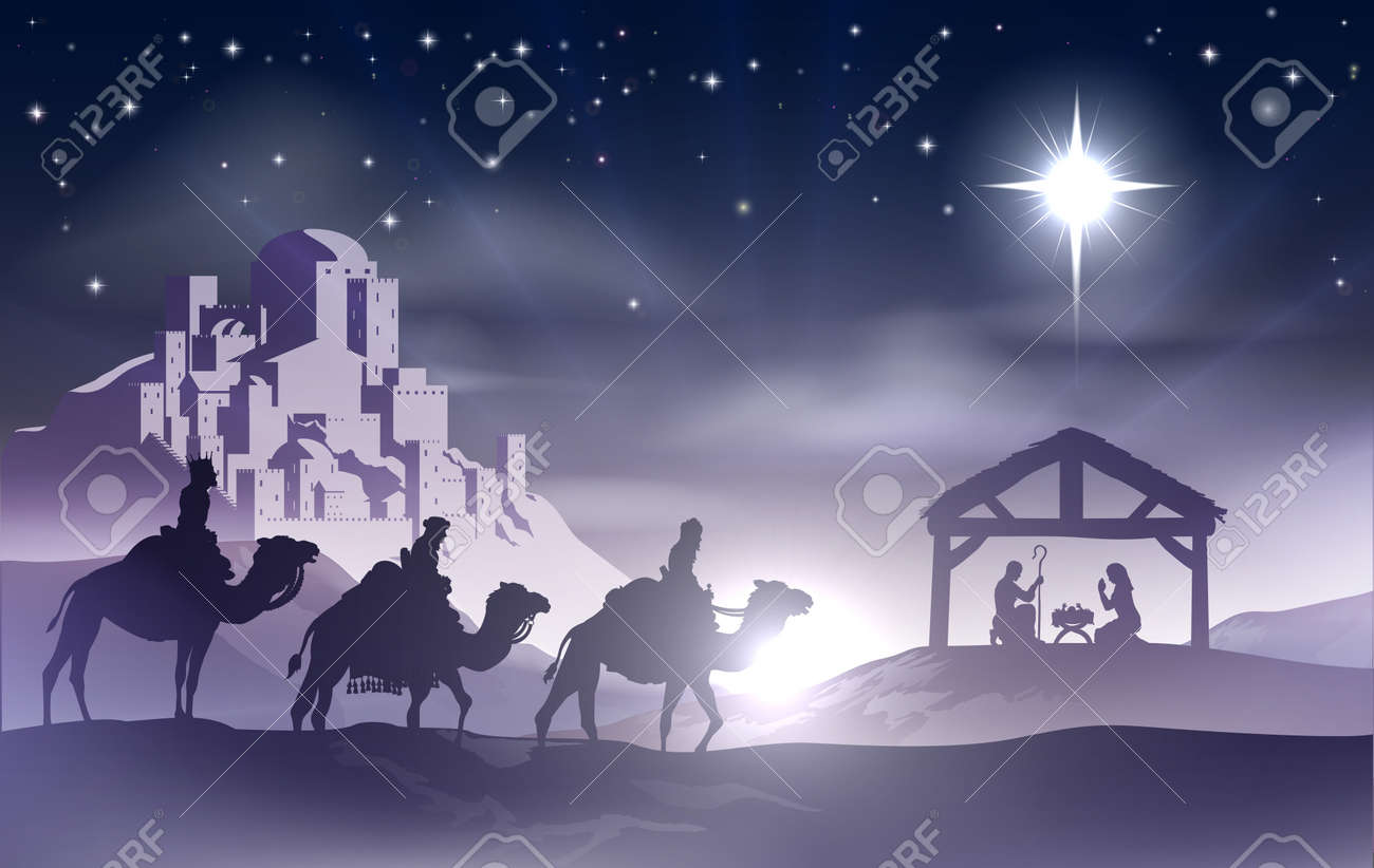 Christmas Christian nativity scene with baby Jesus in the manger in silhouette, three wise men or kings and star of Bethlehem with the city of Bethlehem in the distance - 22951477