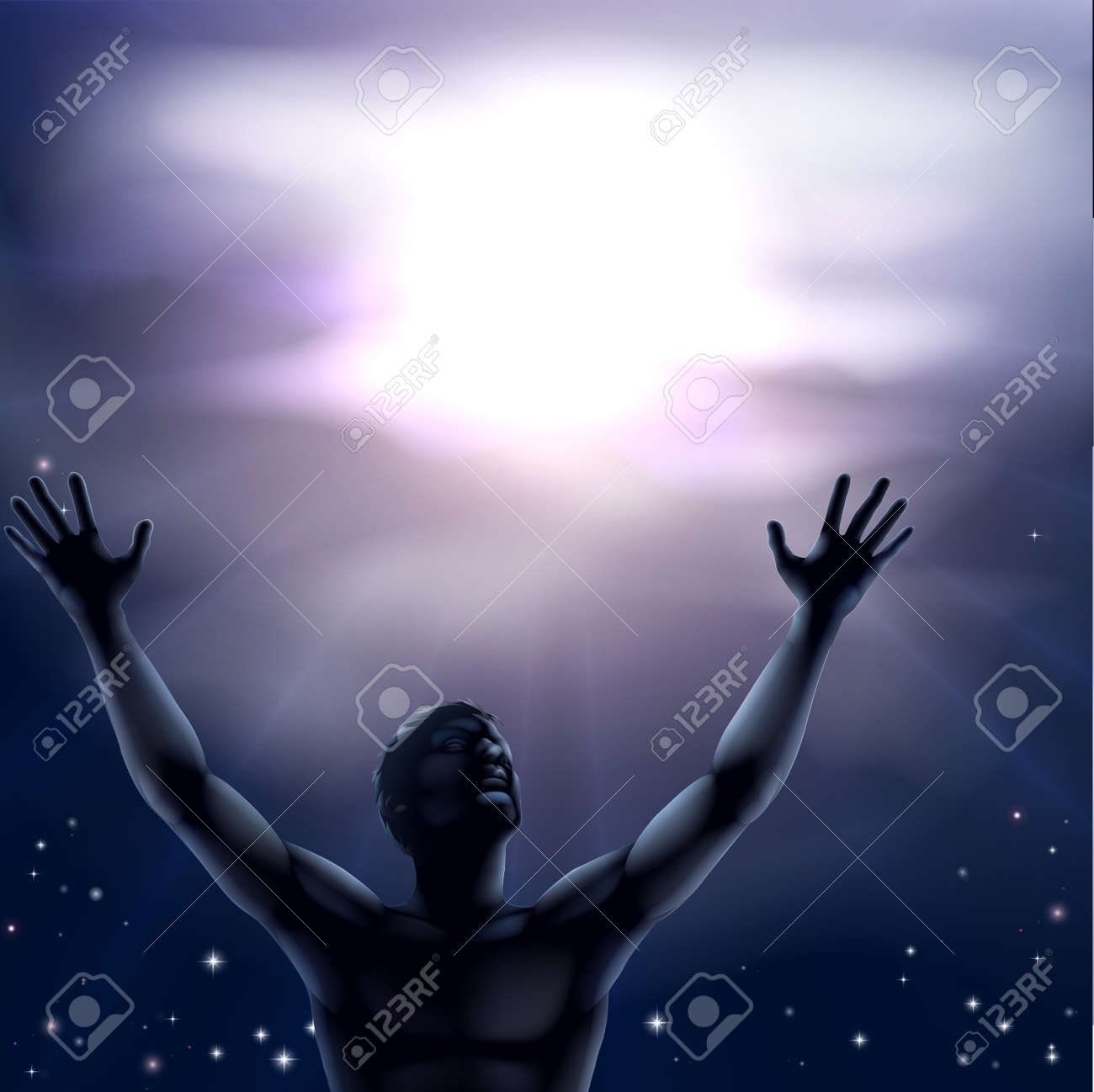 Illustration of a man with a hands and arms raised up to the sky perhaps in praise Stock Vector - 22952240