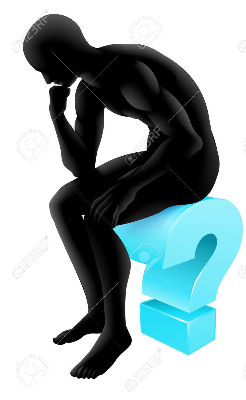 Silhouette man on a question mark icon in thinking in a thinker pose. Concept for any questioning or psychology, poetry or philosophy. Stock Vector - 23109835