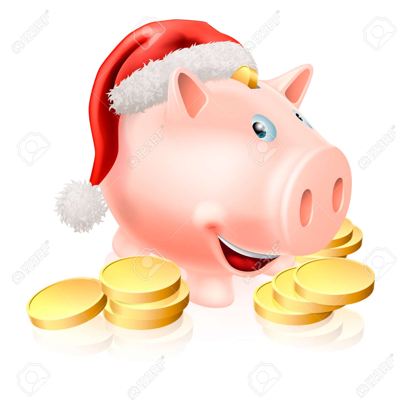 cartoon christmas piggy bank with santa hat on and gold coins