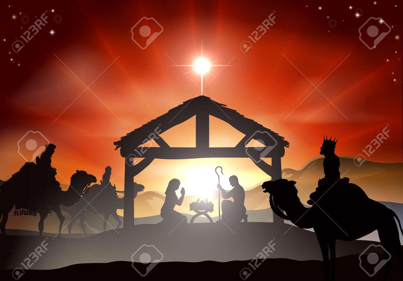 Pesebre De Navidad Con El Nino Jesus En El Pesebre En La Silueta Tres Hombres Sabios O Reyes Y Estrella De Belen Ilustraciones Vectoriales Clip Art Vectorizado Libre De Derechos Image 23477918