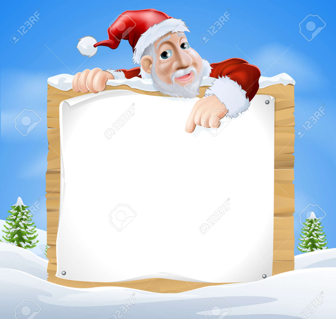 Santa Claus sign winter scene with cartoon Santa pointing down at snow covered sign Stock Vector - 23477923