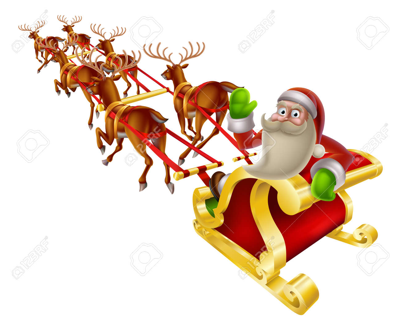 Cartoon Santa in his Christmas sleigh waving back at the viewer Stock Vector - 23662251