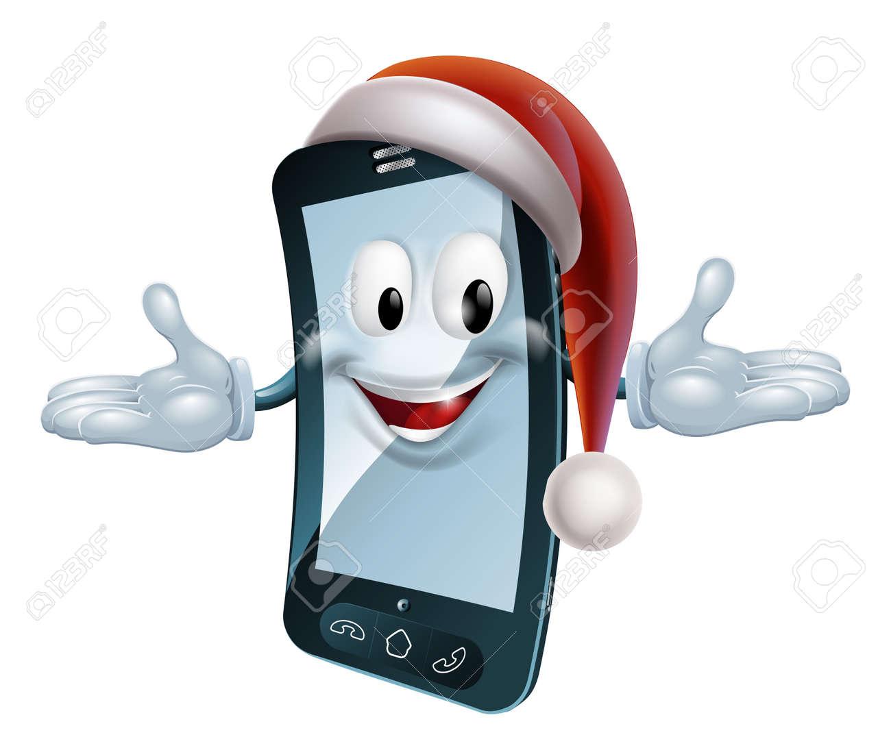 サンタ帽子クリスマス携帯電話キャラクターのイラスト