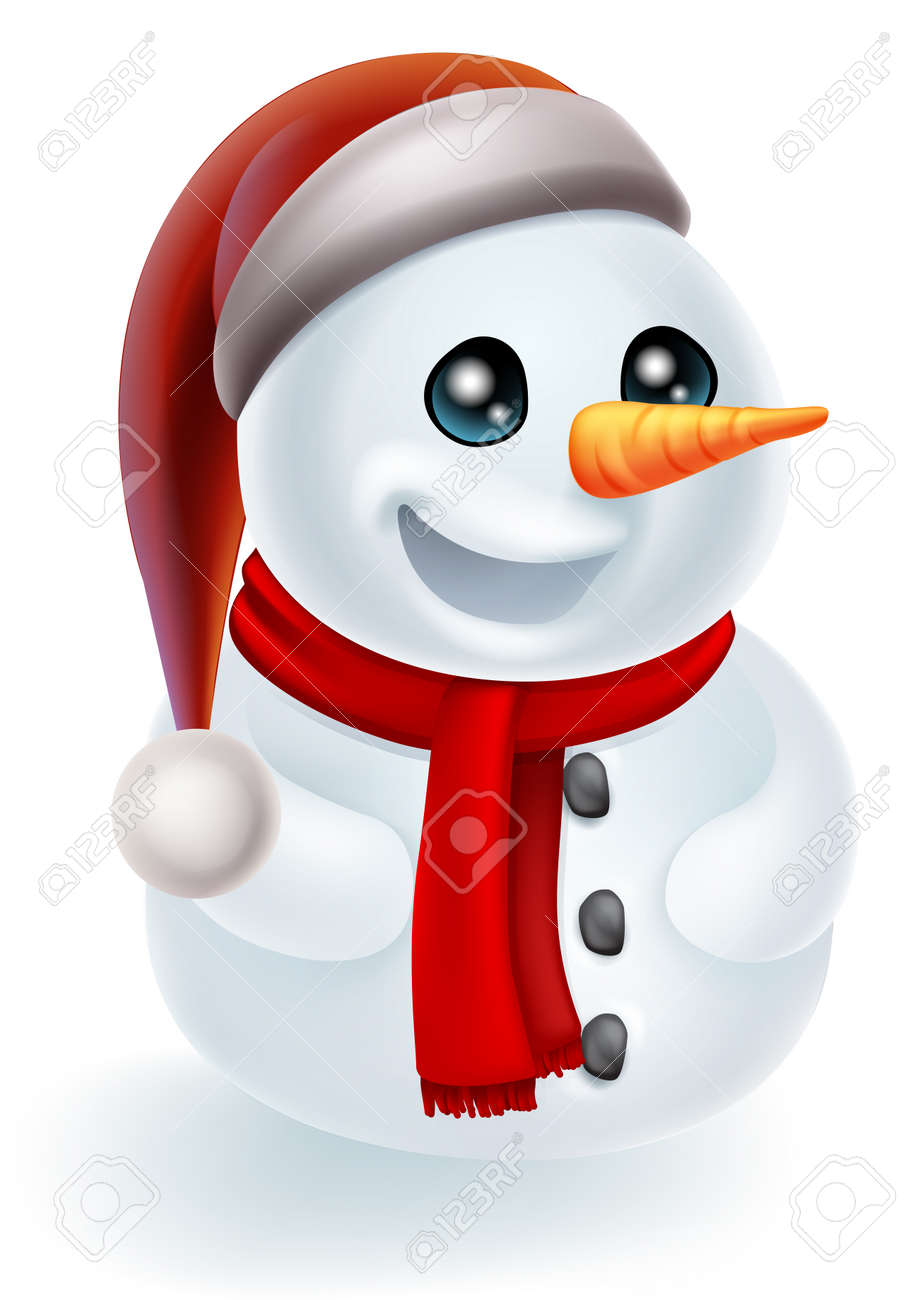 Christmas Hat Cartoon.Illustration Of A Cartoon Christmas Snowman In A Santa Hat And