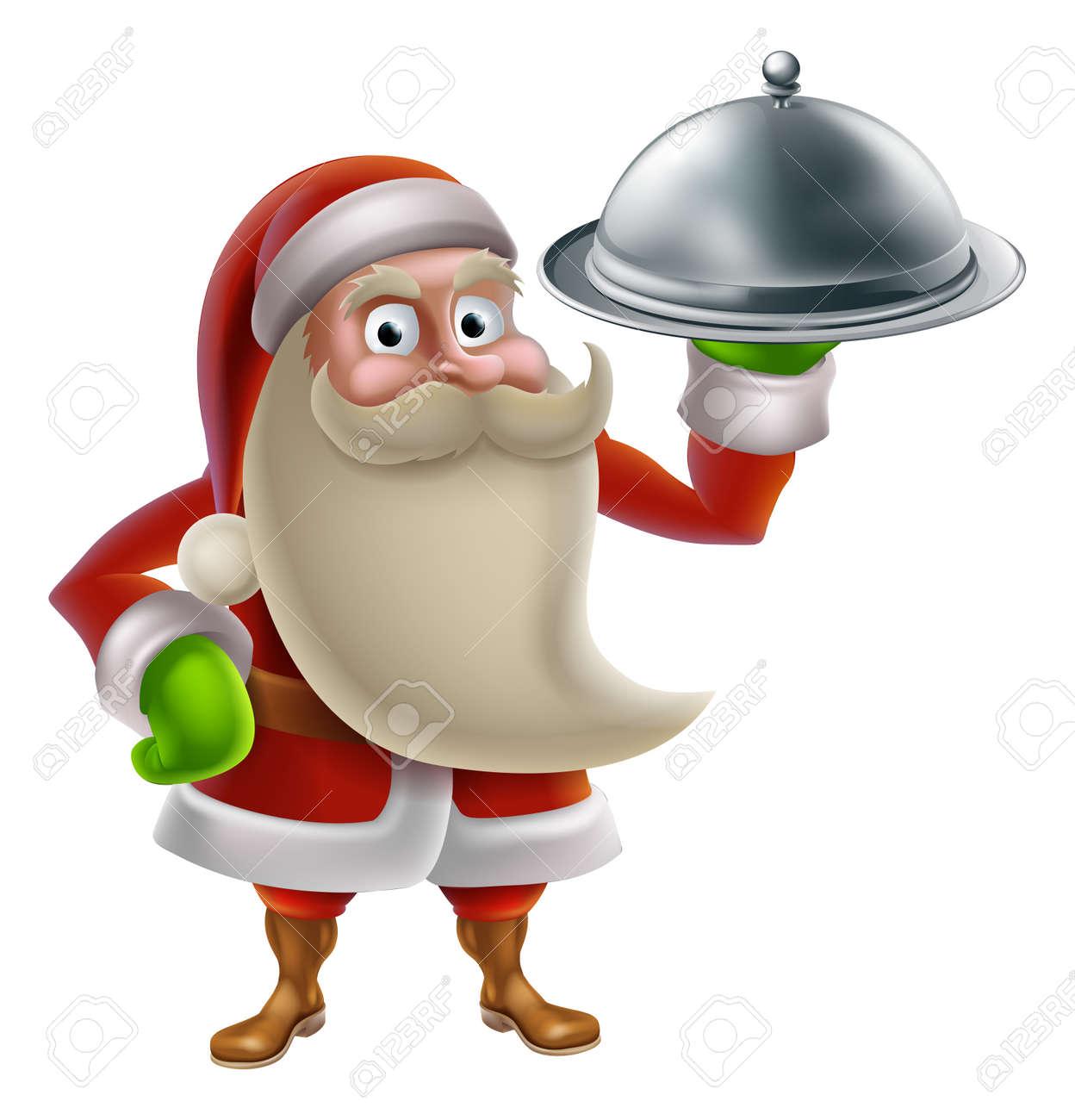 cartoon santa claus cooking christmas dinner food with santa