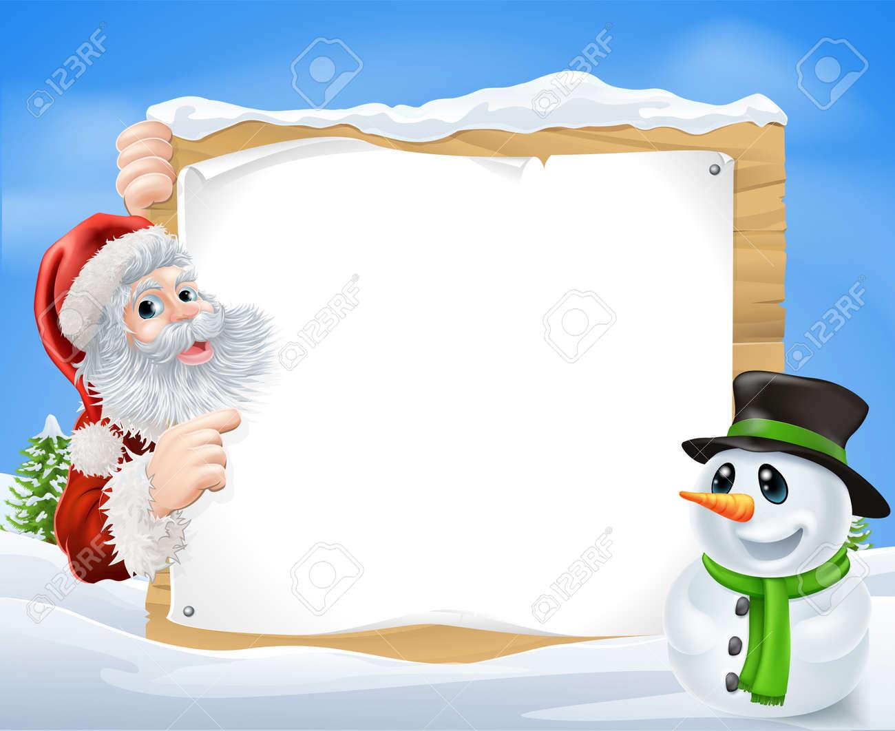 Papá Noel Y Del Muñeco De Nieve Escena De La Nieve Con Papá Noel Y ...
