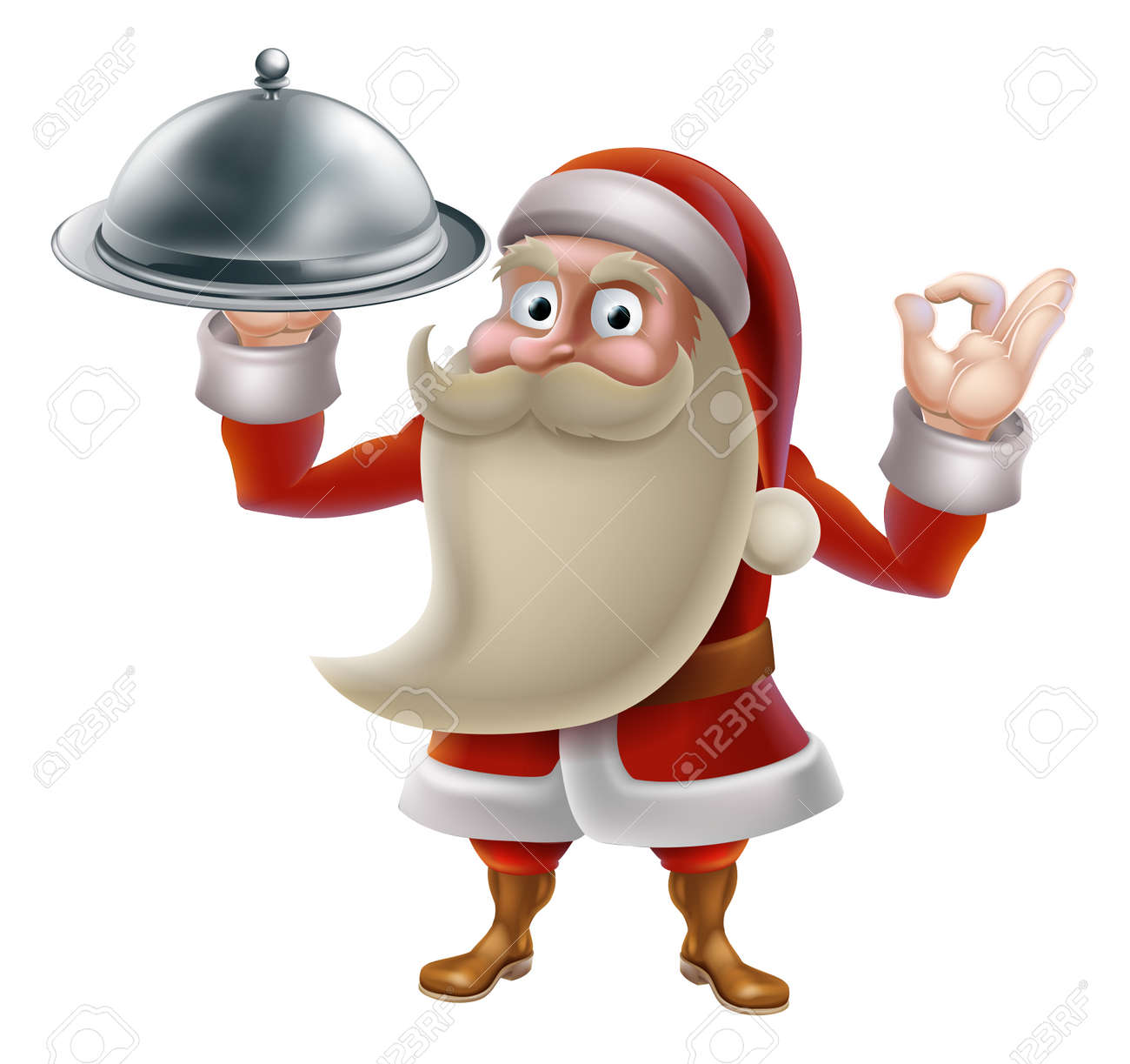 Santa Claus character cooking Christmas dinner food. Cartoon Santa in an holding a silver food platter and doing a perfect gesture Stock Vector - 24027309