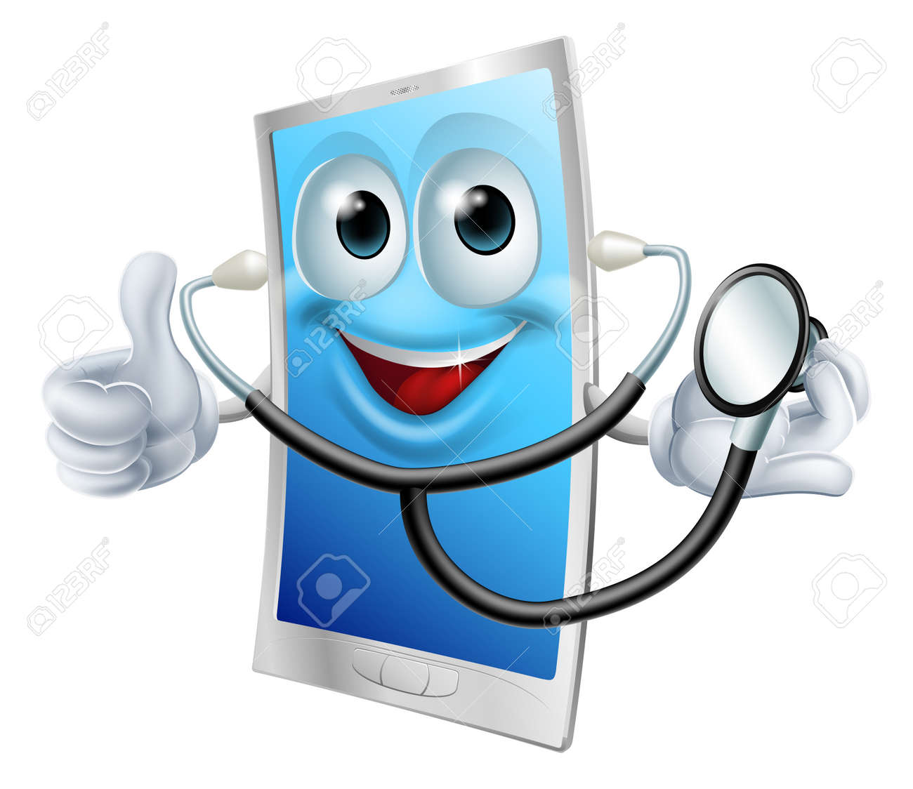 A cartoon phone mascot  holding a stethoscope and doing thumbs up Stock Vector - 24084819