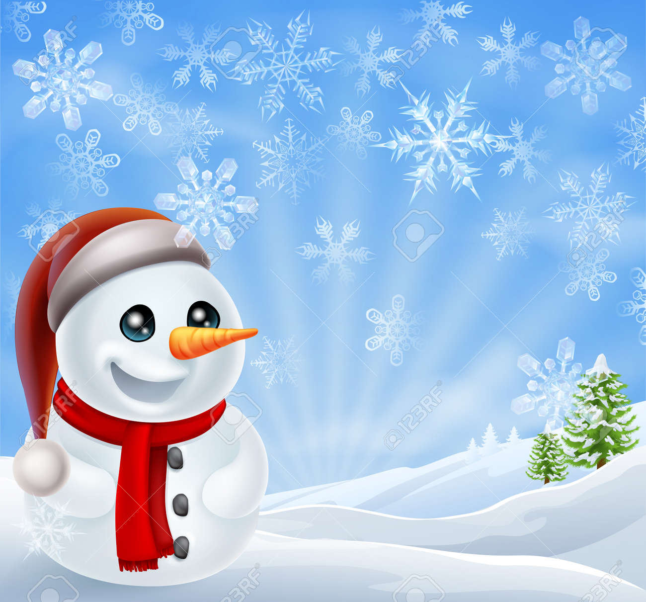 a cartoon snowman standing in a snow covered christmas landscape rh 123rf com screensaver winter scene cartoon cartoon winter scene pictures