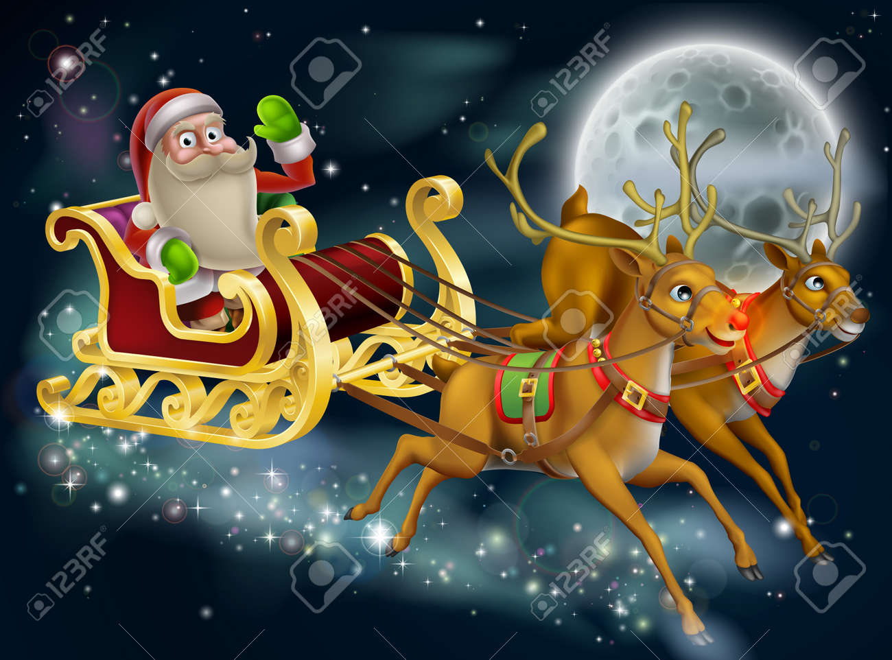 santa claus sleigh scene of santa in his sleigh being pulled through the sky with his - Santa Claus And Reindeers