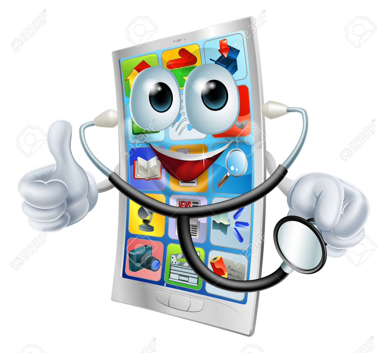 A happy cartoon cell phone man holding a stethoscope Stock Vector - 24544243