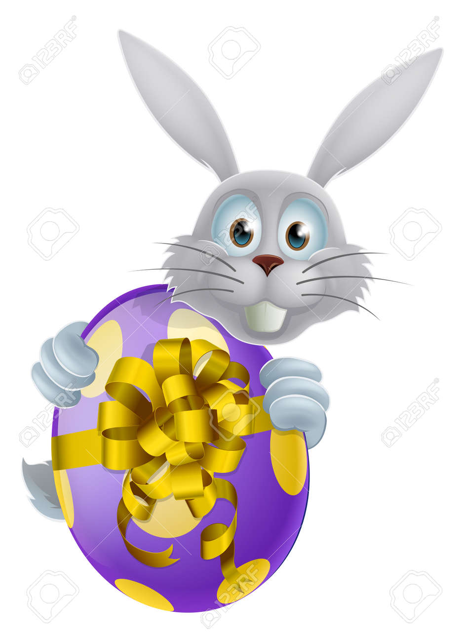 An Easter bunny peeking around a giant decorated chocolate Easter egg with a bow Stock Vector - 24900227